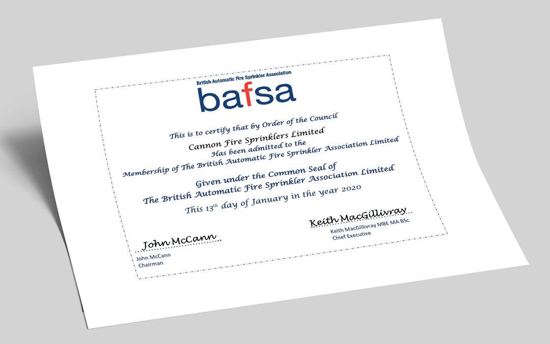 Cannon Fire Sprinklers' BAFSA Membership